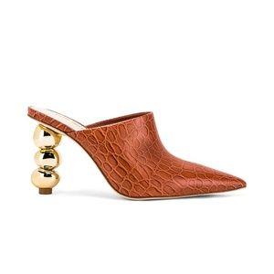 cult gaia •  penelope spice croc-embossed gold pebble sculptural heel mule 40.5